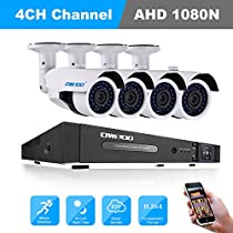 OWSOO 4CH Surveillance Camera System Home Security System with H.264 4CH 080N DVR +4pcs 960P Waterproof Camera + 4pcs 60ft CCTV Cable Support Motion Detection Night Vision Waterproo IP66