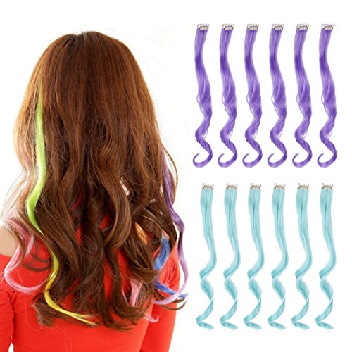 Light Purple Snap - Creamily 12 Pcs Multi-Colors Party Highlights Clip on in Hair Extensions Synthetic Hairpieces (20