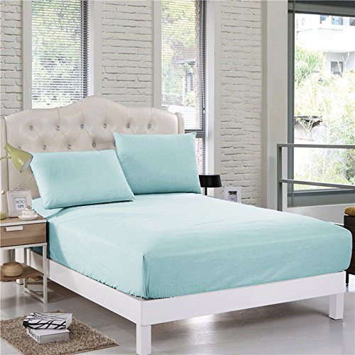 300Thread-Count 3PC- Fitted Bedding Set Twin XL SizeFit up to 16'' Deep Pocket Light Blue Solid 100%Egyptian Cotton