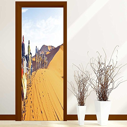 3D Door Wall Mural Wallpaper Stickers-2 Pcs Hotel Saloon Door Self-adhesive  PVC Removable Waterproof Art Door Decals 30x79 inch(Came caravan going