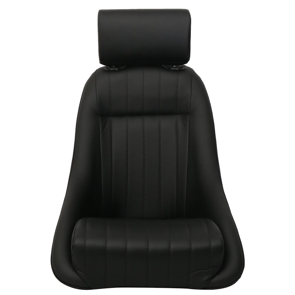 Seat Fits Classic Bucket Single Seat With Sliders in Black Polyurethane Faux Leatherby IKON MOTORSPORTS