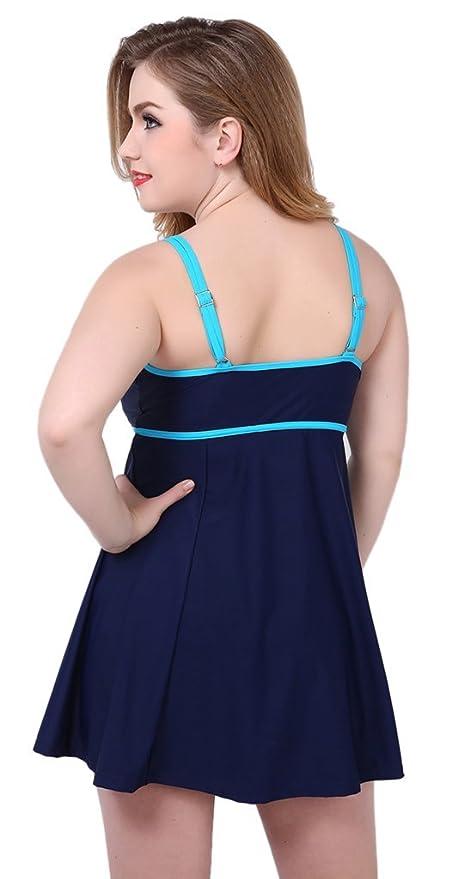 iRachel Plus Size Damen Einteiler große größen Badeanzug Bademode Badekleider  Badekleid Tankini mit Röckchen  Amazon.de  Bekleidung 79dc47238b