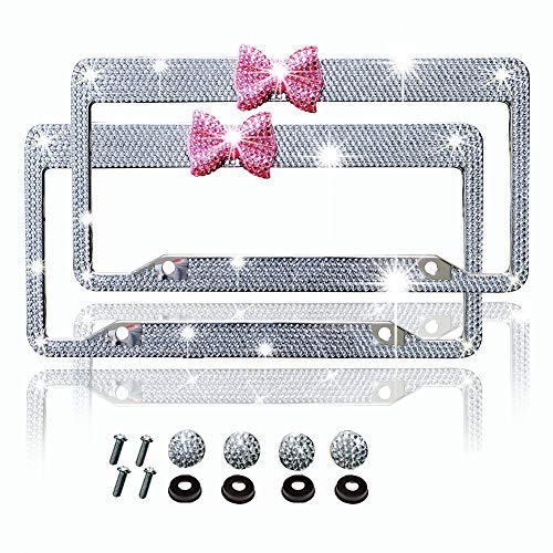 Bling Bling License Plate Frames -8 Row Pure Handmade Waterproof Glitter Rhinestones Crystal License Frames Plate for Cars with 2 Holes & Screws Caps Set (White Pink ()