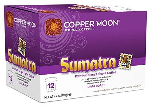 Copper Moon Single Cups for Keurig K-Cup Brewers, Sumatra, 12 Count, Dark Roast Coffee, with Smoothly Bold, Earthy Flavors, and Herbal Notes, Single-Serve Coffee Pods