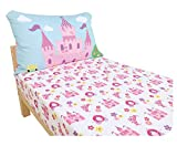 Everyday Kids Toddler Fitted Sheet and Pillowcase Set -Princess Storyland- Soft Microfiber, Breathable and Hypoallergenic Toddler Sheet Set