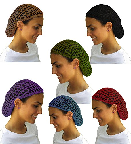 Value Pack- 12 Beautiful Dark Colored Hair Net Snoods