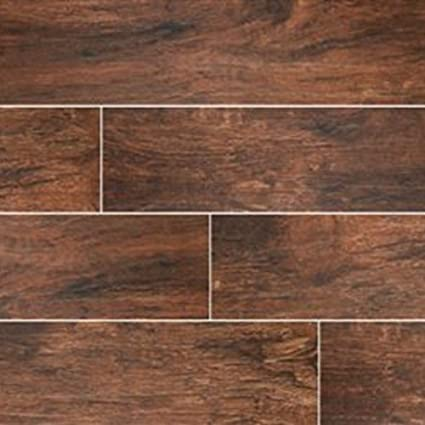 Redwood Mahogany 24 X 6 Porcelain Glazed Floor And Wall Tile In