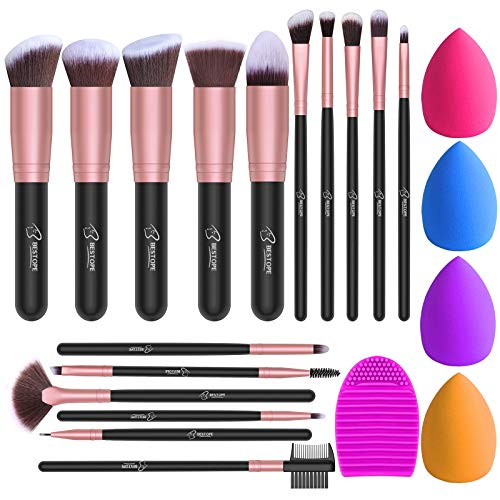 BESTOPE Makeup Brushes 16PCs Makeup Brushes Set with 4PCs Makeup Sponge and 1 Brush Cleaner Premium Synthetic Foundation…