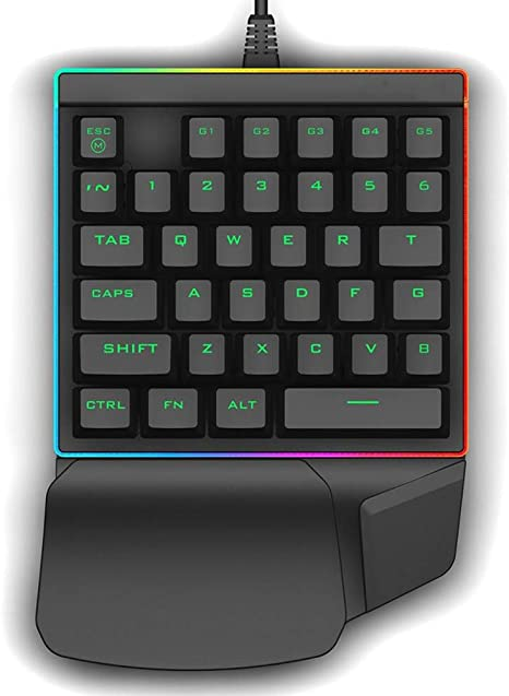 WAWRR One Handed Keyboard RGB LED Backlit PC Computer 35 Keys Mechanical Gaming keyboardSuitable for Programming and Gaming use
