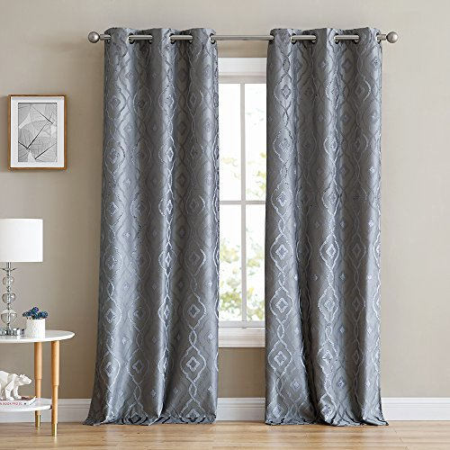 HLC.ME Trellis Flocked 100% Blackout Thermal Window Curtain Grommet Panels - Energy Efficient, Complete Darkness, Noise Reducing - For Living Room & Bedroom - Set of 2 (37
