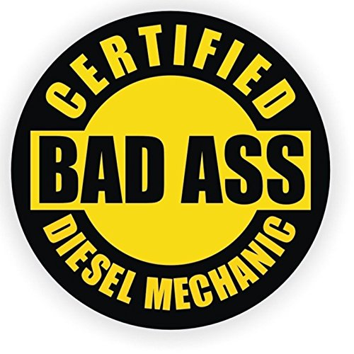 1 Pc Impassioned Unique Certified Bad Ass Diesel Mechanic Window Sticker Mac Macbook Laptop Luggage Hoverboard Wall Graphics Safety Hard Hat Windows Marker Vinyl Stickers Size 2' Color Yellow-Black