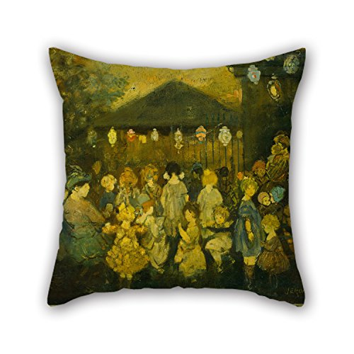 Oil Painting Jerome Myers - Waiting For The Concert Throw Pillow Case 16 X 16 Inches / 40 By 40 Cm Gift Or Decor For Club,kids Boys,bedroom,father,kids Girls,club - Each (London Halloween Concert)