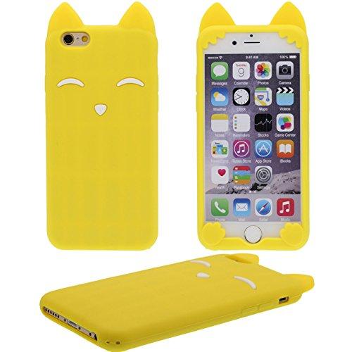 iPhone 6 plus Hülle, iPhone 6 plus case,Creative Design Katze geformte weiche Silikon-Schutzhülle für Apple iPhone 6 plus 5.5 inch (gelb)