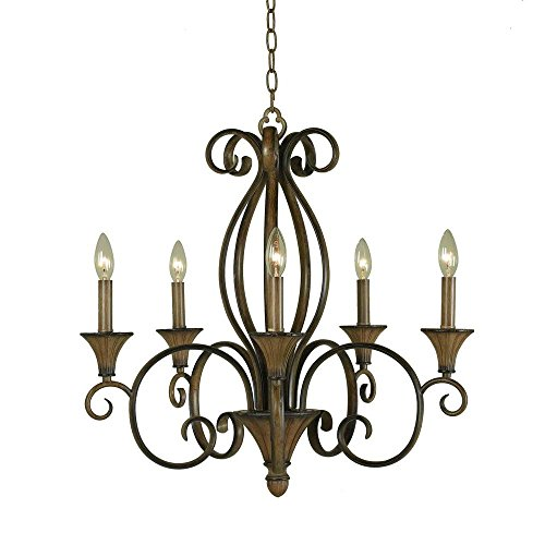 Hampton Bay HDP11963 Chester 5-Light Ceiling Aruba Teak Chandelier