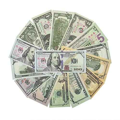 Uspeedy 350 Pieces Prop Money Movie Play Money Set 1, 2, 5, 10, 20, 50, 100 Dollar Bills Double Sided Pretend Dollar Bills ,Amount 9,400 Dollars