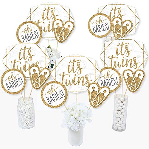 It's Twins - Gold Twins Baby Shower Centerpiece Sticks - Table Toppers - Set of 15