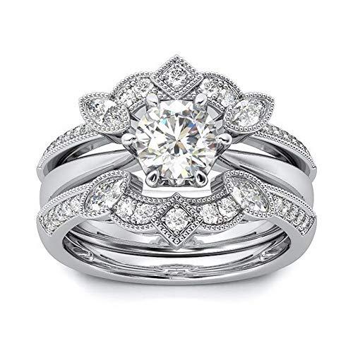 - Pophylis Vintage Engagement Rings Bridal Set Rhodium Gold Filled 3-PC Wedding Bands Round Brilliant Cut 2.1CT Cubic Zirconia Size 6/7/8/9