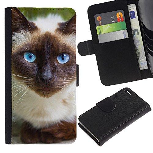 Billetera de Cuero Caso del tirón Titular de la tarjeta Carcasa Funda del zurriago para Apple Iphone 4 / 4S / Business Style Siamese Cat Blue Eyes Feline Thai
