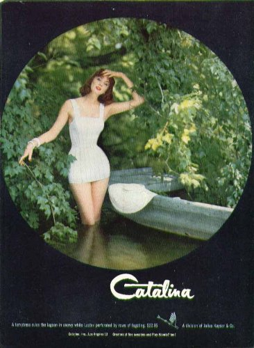 A temptress rules the lagoon Catalina swimsuit ad 1955 Suzy - Suit Rules