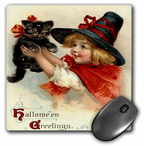 [3dRose LLC 8 x 8 x 0.25 Inches Mouse Pad, Halloween Greetings - Cat, Cute, Girl, Costume, Halloween, Trick Or Treat, Witch] (Trick Or Treat Costumes Images)