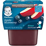 Gerber 2nd Foods Apple Blueberry, 4 oz Tubs, 2 Count (Pack of 8)