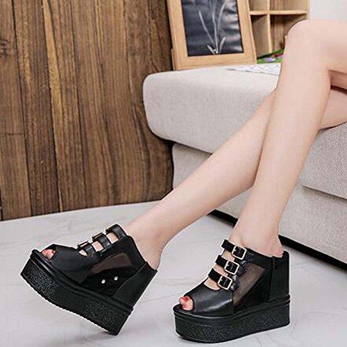 Angelliu Womens Breathable Mesh PU Leather Buckle Elevator Wedges Slippers Sandals Black G7b4ts2R