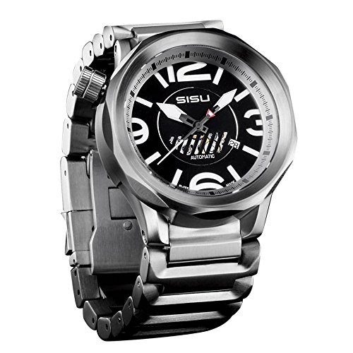 SISU Guardian A1 Swiss Automatic Men's Watch, Black Dial, Stainless Steel Bracelet (Model: GA1-50-SS)