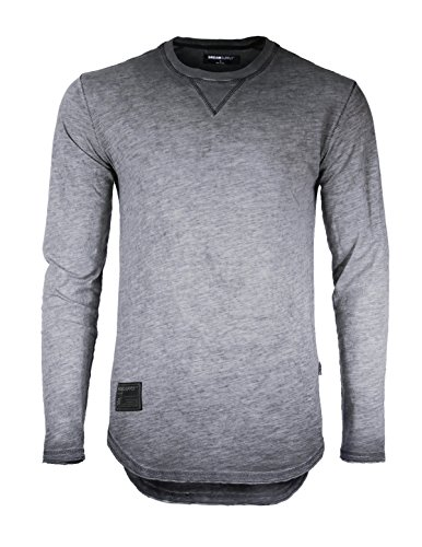 ZIMEGO Dream Supply Men's Long Sleeve Crewneck Raw Cut Edge Oil Wash Vintage T-Shirts