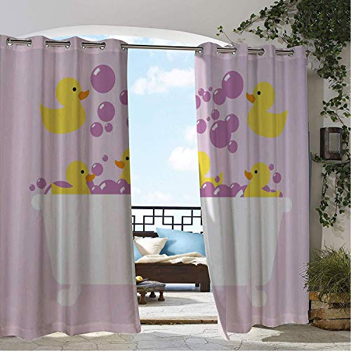 - Patio Waterproof Curtain Duckies Abstract Floating Yellow Rubber Ducks Purple Bubbles in a Tub Design Lilac Purple Yellow pergola Grommets Adjustable Curtains 72 by 84 inch