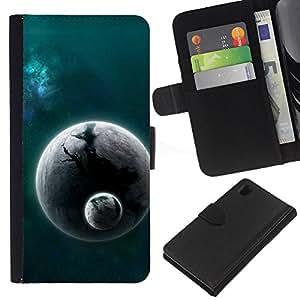 All Phone Most Case / Oferta Especial Cáscara Funda de cuero Monedero Cubierta de proteccion Caso / Wallet Case for Sony Xperia Z1 L39 // Alien World Planet Cosmos Space Universe Dust