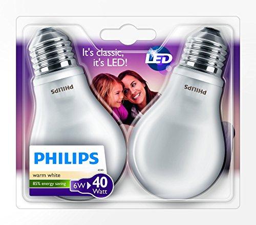Philips, Lampadina LED, attacco E27, 2 pz., 6 Watt, classe...