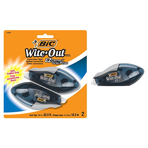 BIC Wite-Out Brand EZ Correct Grip Correction Tape, White, 2-Count