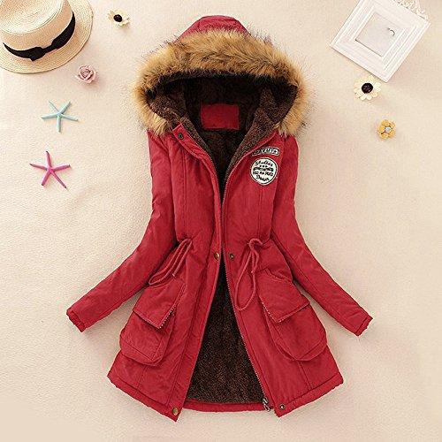 Warm Jacket Garment Upper Shirt Coat Women's Parker Fur Red Hooded Women Long Collar VECDY Jacket Outer Winter Coat apwW6U7t