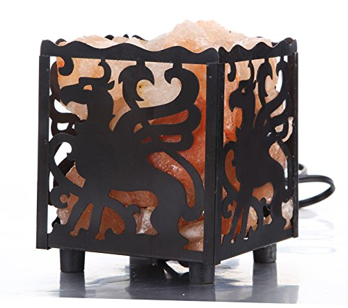 CouldBeauty Crystal Decor Natural Himalayan Salt Lamp Design Metal Basket with Dimmable Cord (Horse)