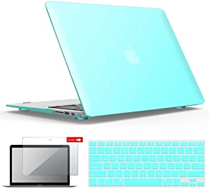 IBENZER MacBook Air 13 Inch Case A1466 A1369, Hard Shell Case with Keyboard & Screen Cover for Apple Mac Air 13 Old Version 2017 2016 2015 2014 2013 2012 2011 2010, Aqua, A13TBL+2