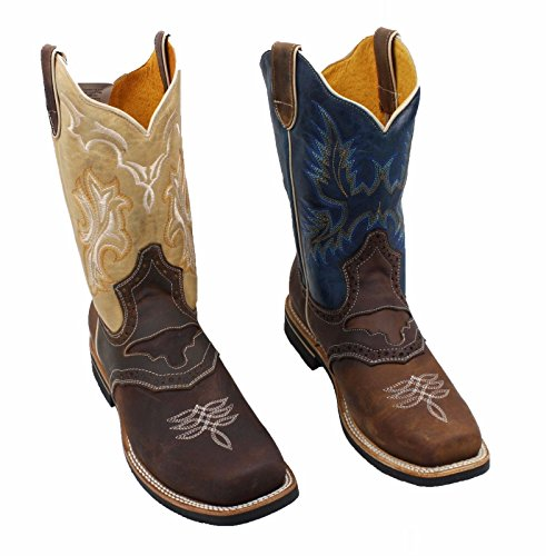 Men genuine cowhide leather square toe western boots_Tan Blue_Size 11