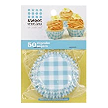 Sweet Creations 50 Count Easter Baking Cup Cupcake Papers, Gingham, Blue