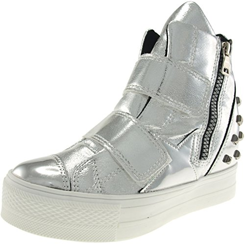 Tall C2 Sneakers Silver Velcro High C2 Up Shoes Bands Maxstar Top tdxwgnqt7