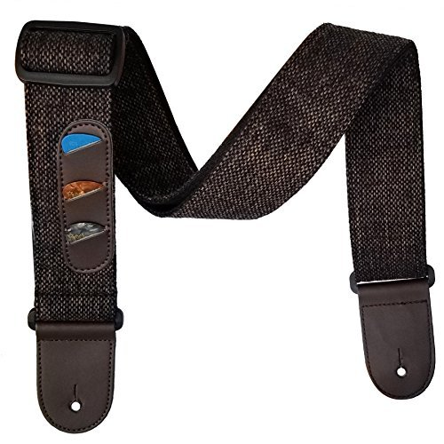 Dr.Music Soft Cotton & Genuine Leather Ends Guitar Strap with Creative Built-In Guitar Picks Holder Ideal for Electric Guitar Bass Guitar and Acoustic Guitar, 3 Picks Included