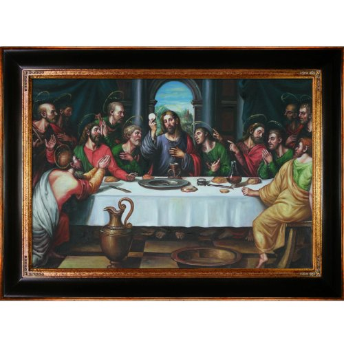 overstockArt The Last Supper-Framed Oil Reproduction of an Original Painting by Juan-de Flandes (Last Supper Oil Painting)