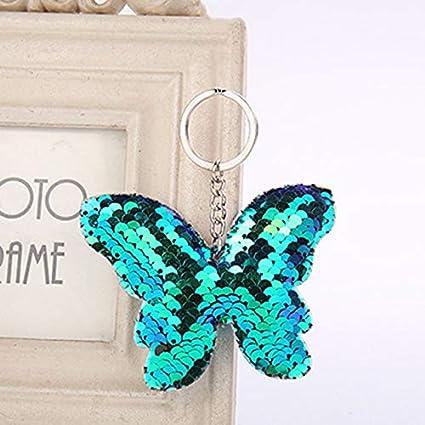 Amazon.com: Rarido Cute Butterfly Keychain Glitter Pompom ...