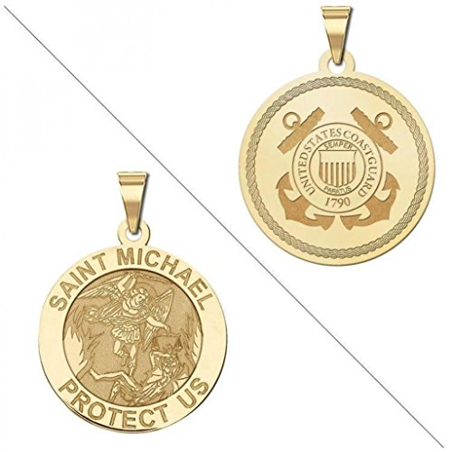 Coast Guard Jewelry - Saint Michael Doubledside COAST GUARD Religious Medal 2/3 Inch Solid 14K Yellow Gold
