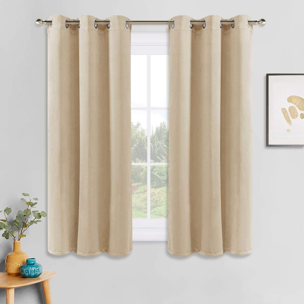 PONY DANCE Window Curtains Set - Room Darkening Home Decor Window Treatments Grommet Drapes Light Block for Dorm/Living Room, Each Panel 42 x 54 inches, Biscotti Beige, Set of 2