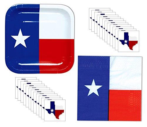 Texas Party Supplies - Texas Plates, Napkins, Party Sticker 56 Piece Party Supplies Bundle, Serves 16