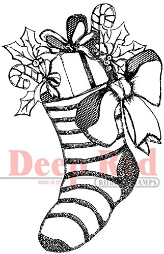 Deep Red Stamps Christmas Stocking Rubber Stamp