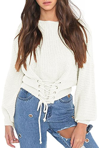 - Sunfury Ladies Winter Plus Size Long Sleeve Thick Sweater Knit Jumper White One Size
