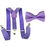HABI Toddler Baby Boys Girls Clip On Suspenders Bow Tie Set Kid Pre Tied Bowtie (Polka Dot Purple)