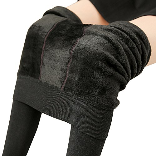 Shorts Thermal Lined (Ouye Women's Fleeced Lined Thick Stretchy Thermal Leggings , Black, One Size)