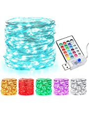 BrizLabs USB Fairy String Lights, 33ft 100 LED Color Changing Fairy Lights with Remote, Plug in Color Fairy String Lights, Indoor RGB String Lights, Twinkle USB Fairy Lights for Bedroom Party Decor