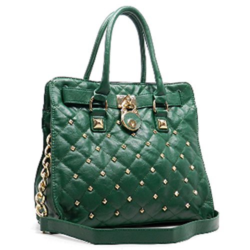 2chique Boutique Women's Quilted Padlock Leather Tote Gqp-2200